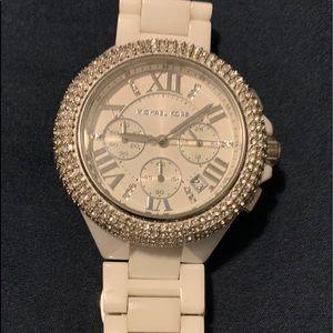 Michael Kors White Ceramic watch with rhinestones